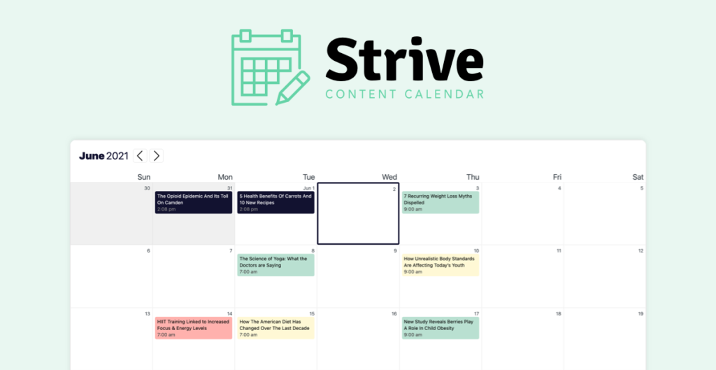 Strive Content Calendar - One of the Best WordPress plugins for bloggers
